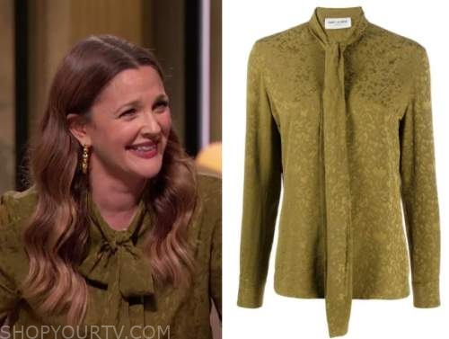 drew barrymore, drew barrymore show, green jacquard tie neck blouse