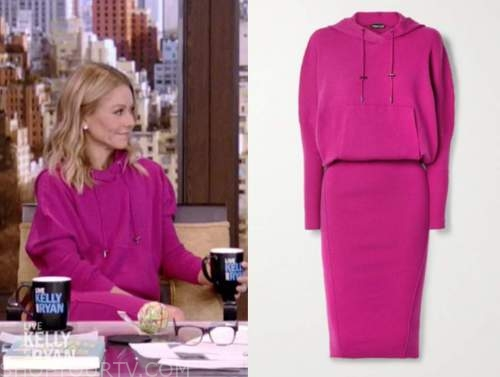 kelly ripa, live with kelly and ryan, pink hoodie sweater dress