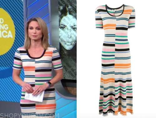 good morning america, amy robach, ivory striped knit midi dress