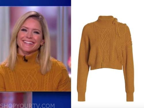sara haines, the view, mustard yellow cable knit turtleneck sweater