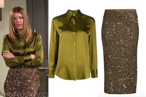 phyllis newman, michelle stafford, the young and the restless, green silk shirt, sequin pencil skirt