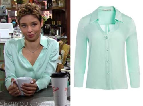 elena dawson, brytni sarpy, the young and the restless, mint green silk blouse