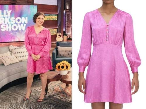 Mayim Bialik, the kelly clarkson show, pink silk jacquard dress