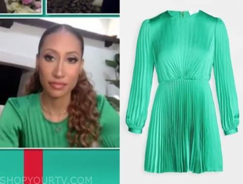 elaine welteroth, the talk, green silk pleated dress