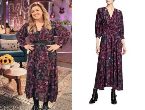 kelly clarkson, the kelly clarkson show, purple and pink printed wrap midi dress