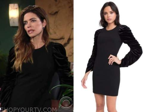 victoria newman, amelia heinle, black velvet dress, the young and the restless