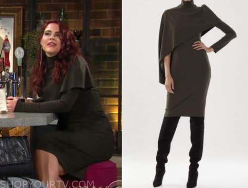 sally spectra, courtney hope, the young and the restless, olive green cape dress