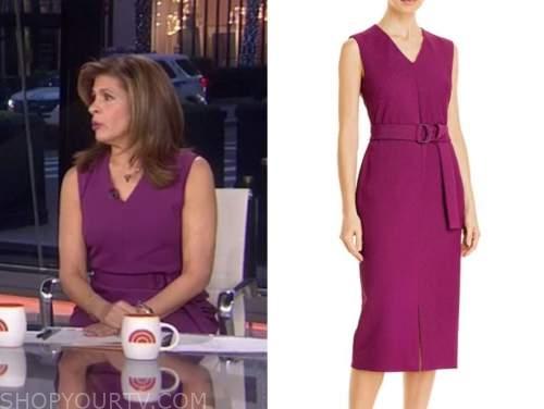 hoda kotb, the today show, purple v-neck sheath dress