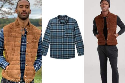 matt james, the bachelor, brown vest, blue plaid shirt