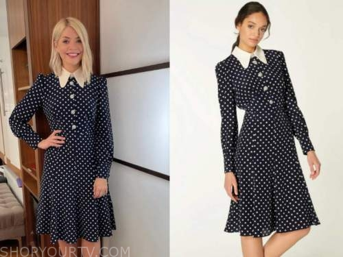 holly willoughby, this morning, polka dot collar midi dress