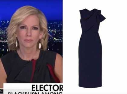 fox news at night, shannon bream, navy blue and red bow sheath dress