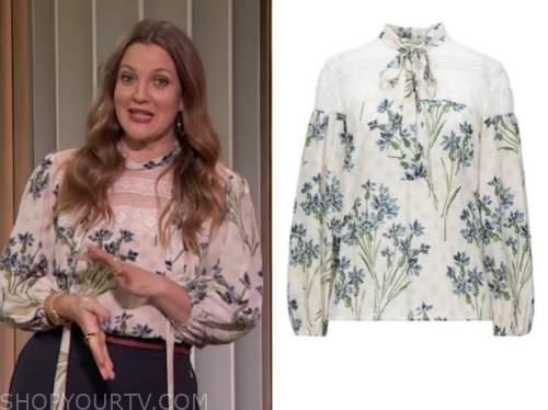 drew barrymore, drew barrymore show, floral tie neck lace blouse