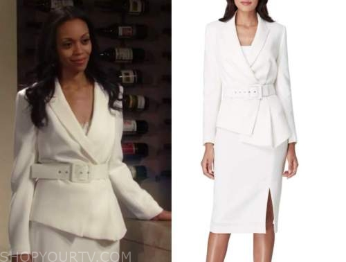 amanda sinclair, the young and the restless, white skirt suit, mishael morgan