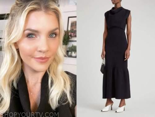 amanda kloots, the talk, navy blue cowl neck dress