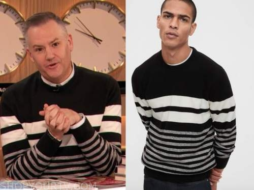 drew barrymore show, ross mathews, black and white striped sweater