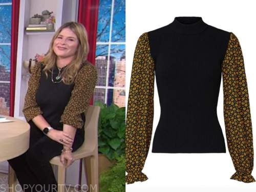 jenna bush hager, the today show, floral contrast sleeve sweater