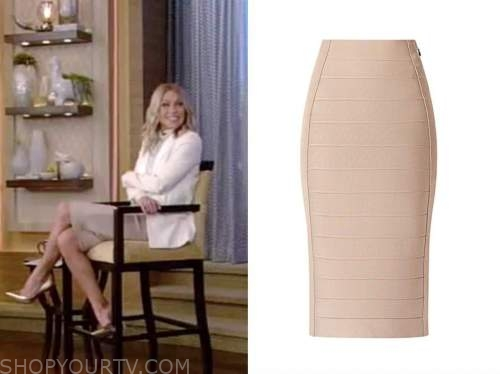 kelly ripa, live with kelly and ryan, beige bandage pencil skirt