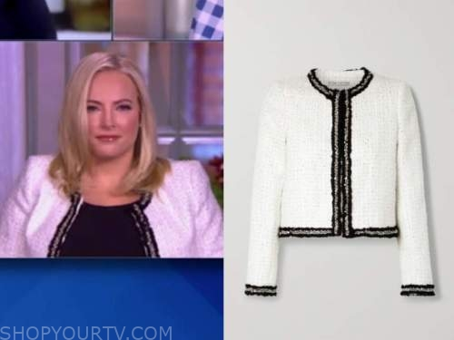 meghan mccain, the view, black and white tweed jacket