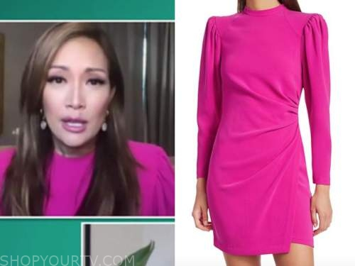 carrie ann inaba, the talk, pink mock neck puff sleeve dress