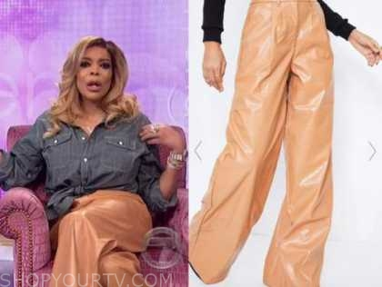 the wendy williams show, wendy williams, camel leather pants