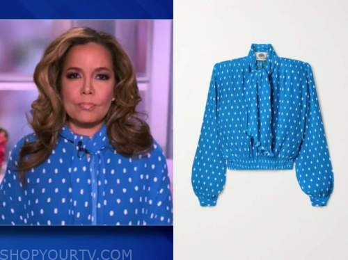 sunny hostin, the view, blue polka dot tie neck blouse