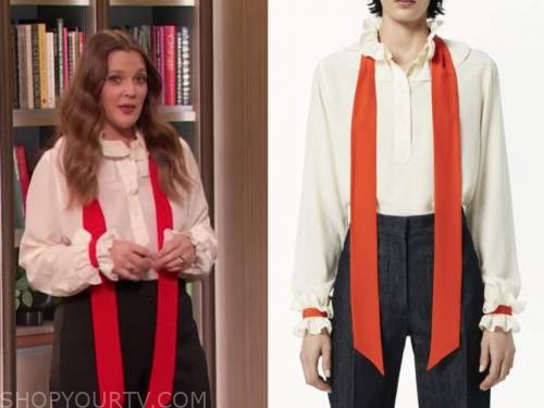 drew barrymore, drew barrymore show, ivory and red tie neck ruffle blouse