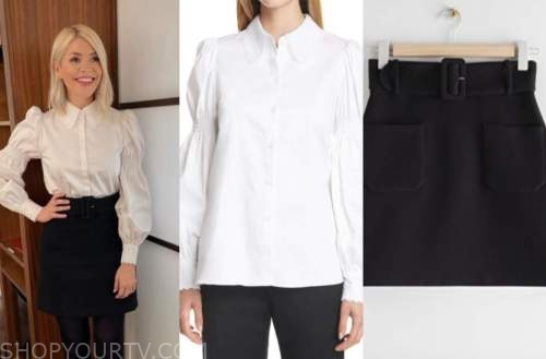 holly willoughby, this morning, white shirt, black skirt