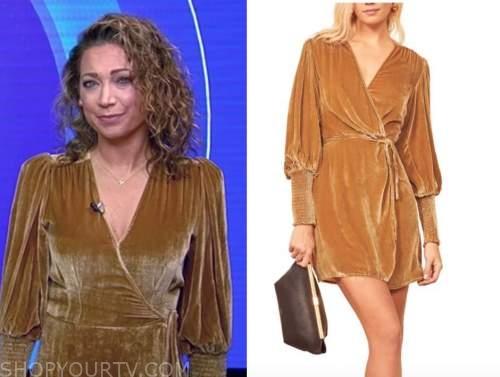 ginger zee, good morning america, gold velvet wrap dress