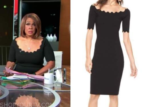 gayle king, cbs this morning, black scallop dress