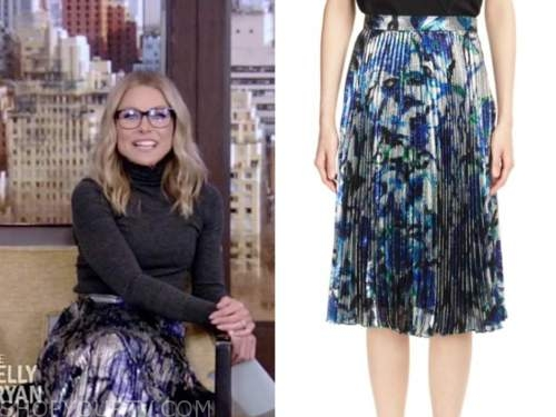 kelly ripa, live with kelly and ryan, metallic pleated floral skirt