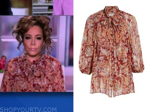 sunny hostin, the view, red and orange floral paisley tie neck blouse