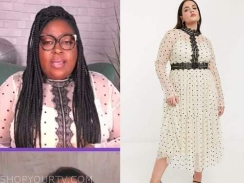 loni love, the real, polka dot lace mock neck midi dress