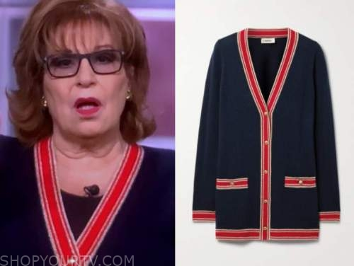 joy behar, the view, navy blue and red contrast trim cardigan sweater