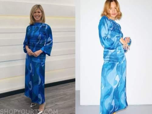 kate garraway, good morning britain, blue printed top and skirt dress