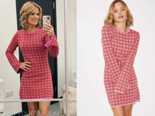 charlotte hawkins, good morning britain, pink knit tile print dress