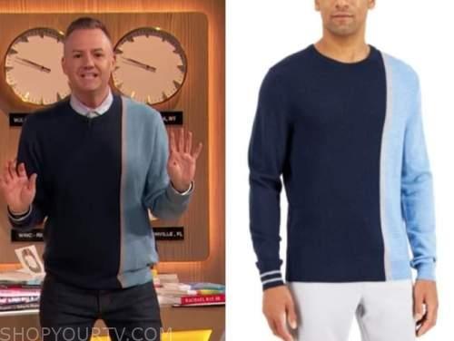 drew barrymore show, blue colorblock sweater ,ross mathews