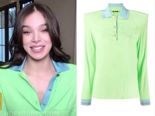 Hailee Steinfeld, drew barrymore show, green and blue silk shirt