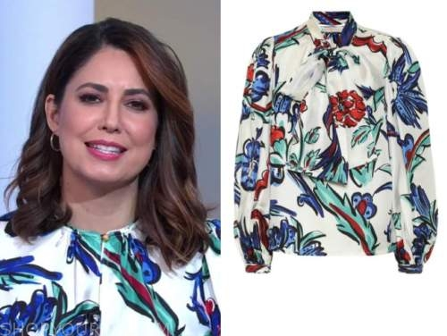 good morning america, cecilia vega, white and blue floral blouse