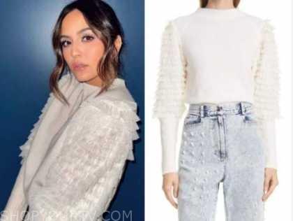 erin lim, white ruffle sleeve sweater, E! news, nightly pop