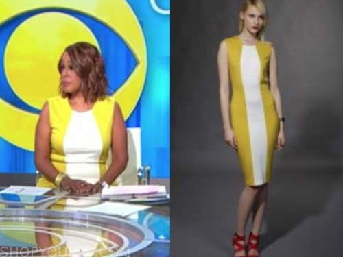 gayle king, cbs this morning, yellow and white colorblock sheath dress