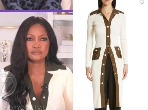 garcelle beauvais, the real, ivory cardigan sweater dress