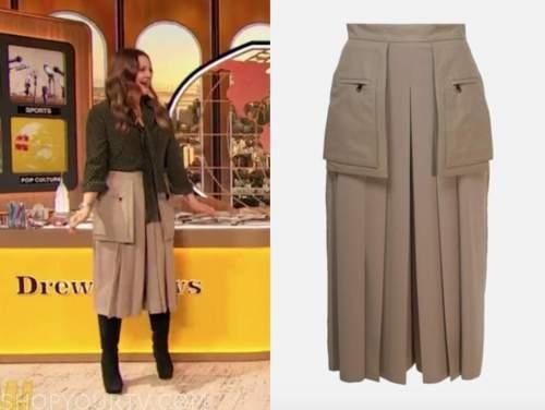 drew barrymore, drew barrymore show, beige cargo culottes skirt