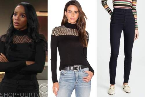 leigh-ann rose, imani benedict, the young and the restless, black sweater, black jeans