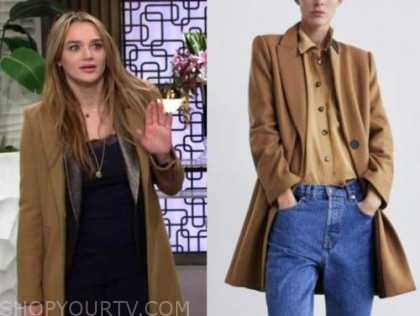 summer newman, hunter king, the young and the restless, camel coat