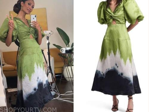 elaine welteroth, the talk, green satin twist cutout puff sleeve midi dress