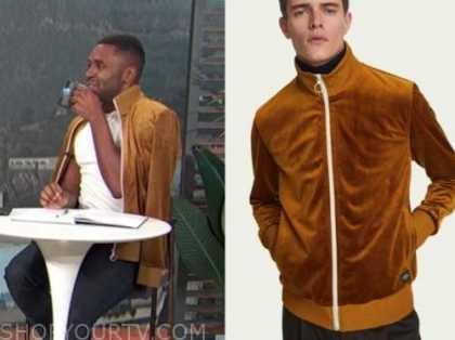justin sylvester, gold velvet track jacket, E! news, daily pop