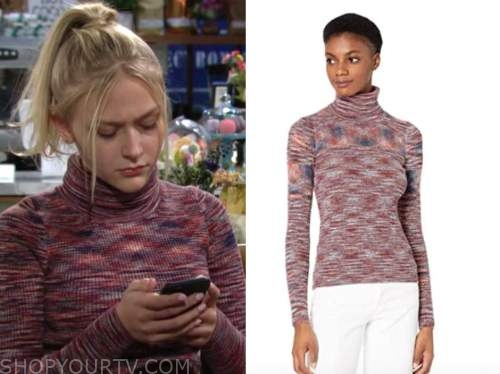 faith newman, alyvia alyn lind, the young and the restless, space dye turtleneck