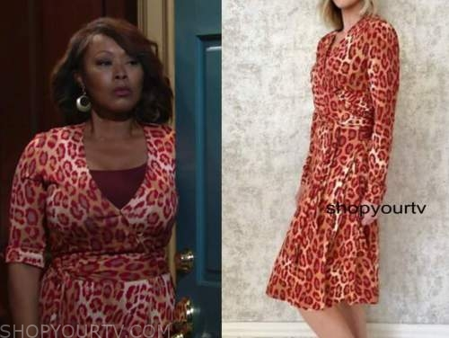 ptosha storey, naya benedict, the young and the restless, red leopard wrap dress