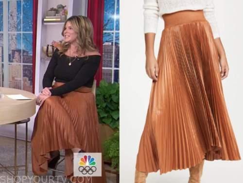 jenna bush hager, the today show, orange pleated midi skirt