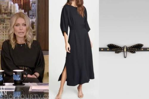 kelly ripa, live with kelly and ryan, black midi dress, dragonfly studded belt